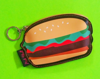 Snack Time Hamburger Pizza Popcorn Fun Fast Food Zippered Pouch Wallet Bonded Vinyl Coin Purse - More Styles