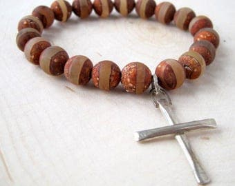 Tibetan Agate Bracelet, Brown Gemstone Unisex Bracelet, Silver Cross Stretch Bracelet, Matte Finish Stones, Men's Bracelet, Gift for Holiday