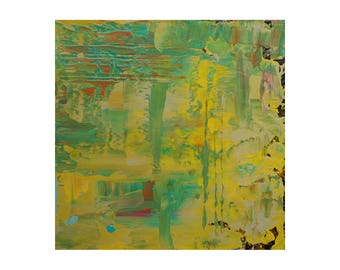 """Modern Abstract Painting """"Lemon Lime"""" by Lisa Carney, 12x12 Textured Acrylic on Wood, Colorfield Art, Paint Build-Up, Yellow, Green, Orange"""