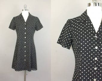 VTG 90s Grunge black white polka dot button down mini dress sz US 2/4