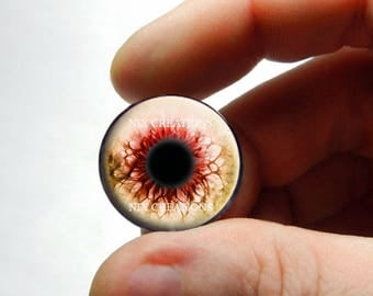 Zombie Glass Eyes - Human Doll Eyeballs Handmade Glass Cabochons - Design 5 - Pair or Single - You Choose Size