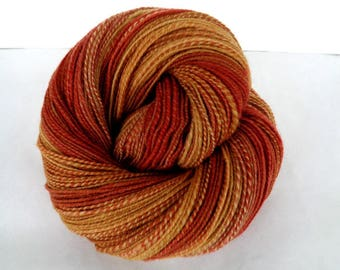 Handspun yarn, polwarth wool, hand painted yarn, very soft yarn, fingering weight yarn, weaving yarn, autumn,auburn,fall, GILGAMESH, 428yds