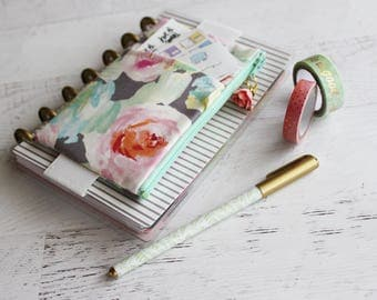 Mini happy planner pouch - planner cover - floral planner - planner band - planner pouch with elastic - journal cover - gray zip pouch