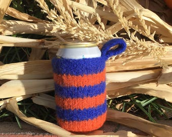 Felted Can Cozie in Bronco Blue and Orange