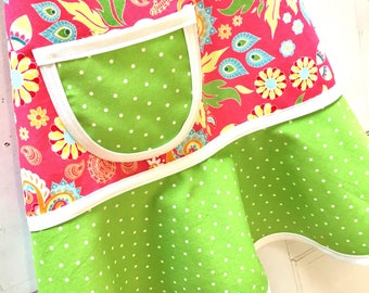 Pink Floral Kids Apron, Little Girls Apron, Child, Toddler, Teen, Pretend Play Kitchen, Girls Birthday Gift - PINK & GREEN FLORAL