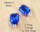 Sapphire Blue Glass Beads - 10x8 Octagon in Silver or Brass Settings - Rhinestone Jewels - 10mm x 8mm - Jewelry Supply - One Pair