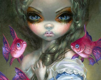 Poissons Volants:  Les Poissons Roses art print by Jasmine Becket-Griffith 8x10 flying fish butterfly butterflies pink roses