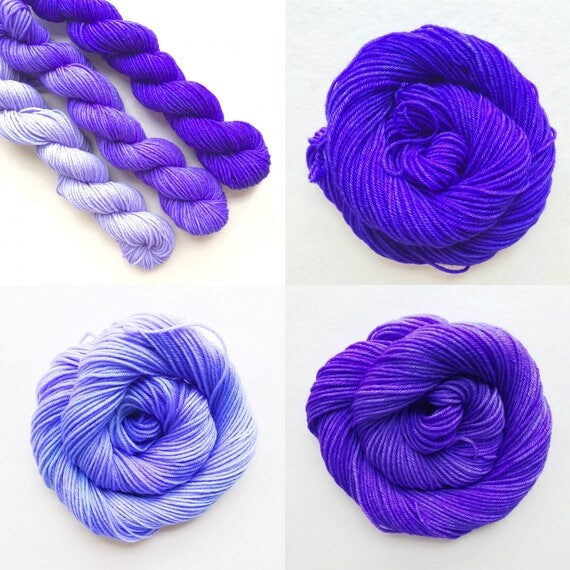ULTRA VIOLET fade set of hand dyed yarn. Gradient ombre SET of 3 skeins