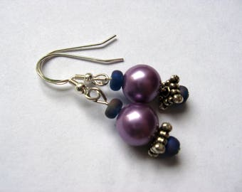 Lavendar Faux Pearl Earrings