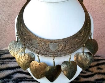ON SALE Vintage 1970s Necklace Hippie Statement Etched Brass Hearts 20 Inches