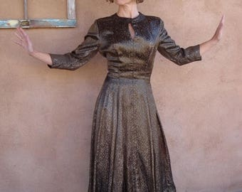 ON SALE Vintage 1950s Dress Silk Brocade Gold and Copper 50s Dress US4 B34 W26