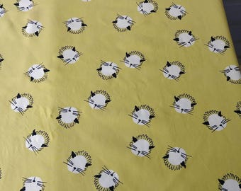 Vintage 1940s Fabric 40s Rayon Novelty Print MCM Cats Chartreuse 2.5 Yds