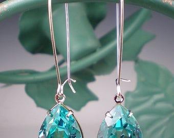 SUMMER SALE Rhinestone Earrings Light Turquoise Swarovski Dangle Earrings Aqua Teal Wedding Jewelry Bridesmaid Jewelry MADE To Order