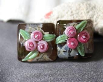 Elizabeth Creations ROSE DREAMS artisan lampwork matching beads sra