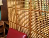 Vintage Geometric Wooden Room Divider Privacy Screen Squares Movable Wall Room Divider