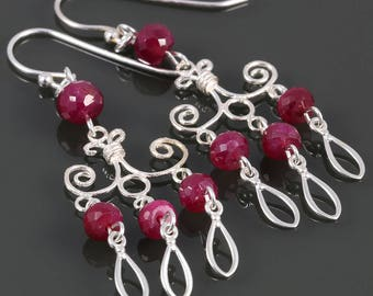Genuine Ruby Chandelier Earrings. Sterling Silver. July Birthstone. Big Earrings. Lightweight Earrings. s17e095