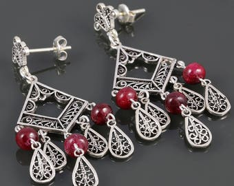 Ruby Chandelier Earrings. Sterling Silver. Turkish Filigree. Genuine Gemstone. July Birthstone. s17e100