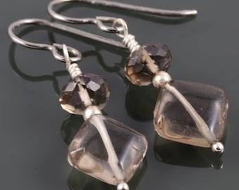 Smoky Quartz Earrings. Titanium Ear Wires. Hypoallergenic Earrings. Genuine Gemstone. f17e024