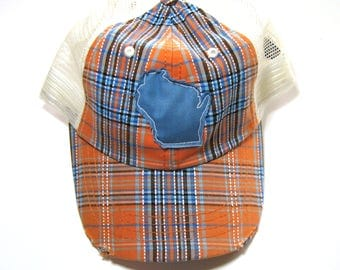 Distressed Snapback Trucker Hat - Blue and Orange Plaid Wisconsin