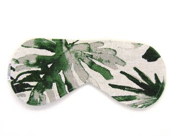 Sleeping Eye Mask / Night Eye Mask / Travel Eye Mask / Sleep Mask - Green Palm
