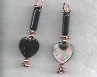 ON SALE Obsidion & Shell Dangle Earrings