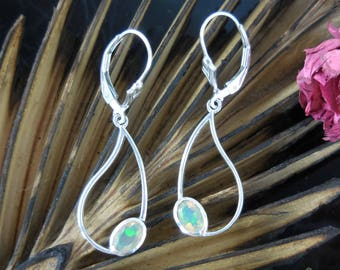 Welo opal sterling silver earrings