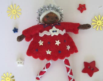Stars and Stripes Pixie in Red Art Doll Ornament