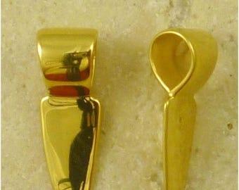 25% OFF Gold Vermeil GLUE ON Pendant Bail - 6mm x 15mm
