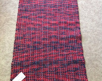 Rag Rug reuse flannel sheets 46 inches long by 23 inches wide handcrafted home decor