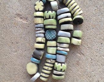 raku heishi beads, kiln fired clay
