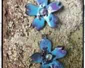 Blue and Purple Dogwood Flower Enamel Copper Earring Charms