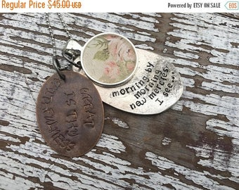 MEMORIAL DAY SALE- Spoon Necklace-Stamped Jewelry-Great is His Faithfulness