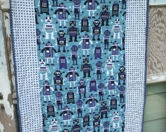 SALE- Robot Baby Quilt-Robots-For the Boys