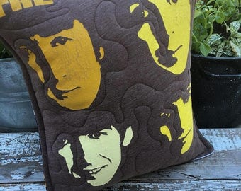 CRAZY SALE- Beatles Throw Pillow-Rock n Roll-Upcycled Eco Friendly-Quilted-
