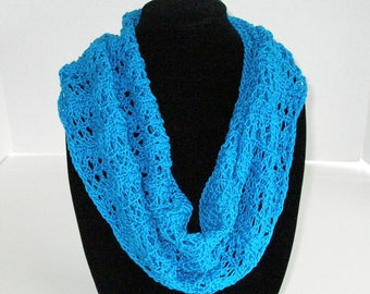 Blue Summer Lace Scarf, Cotton Circle Scarf, Hand Knit Infinity Scarf or Cowl