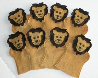 8 Lion Hand Puppets , Birthday Party Favor Set