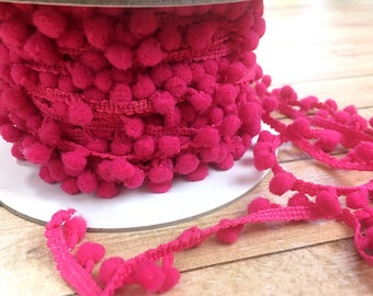 1 yard of 1/2 inch Hot Pink Pom Pom Trim, Scrapbook, Card Making, Sewing, Decor, DIY projects, Fringe, Edging, Acid and Lignin Free, Bright