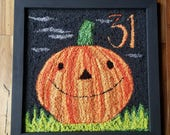 halloween...punch needle...framed rug...the great pumpkin at midnight