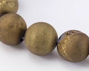 8mm Metallic Copper Druzy Agate Round Bead Strand (24 Pcs)