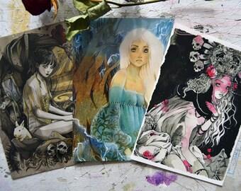 Art Card - Postcard - Stationery  - Gothic Art - Fantasy Art - Anime Style - Lonely Girls