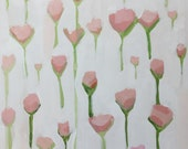 original flower painting floral art graphic design pink and white  wood panel 12x12
