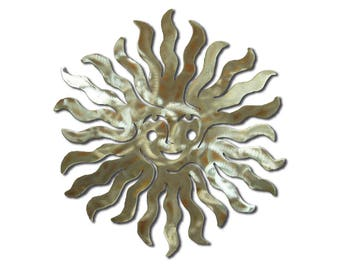 Female Sprite Sun Burst Southwest Metal Wall Art - Silver Swirl Finish