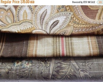 CLEARANCE - 3 pieces olive brown multi woven fabrics, 10 x 10 inches