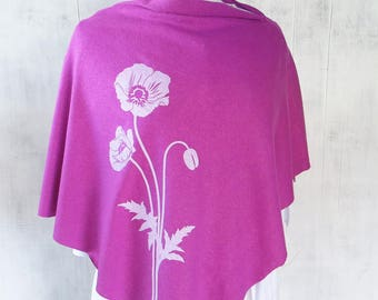 Clothing Gift - Womens Poncho - Hemp Organic Cotton Jersey Poncho - Womens Shawl - Pink Magenta Poncho - Ladies Screen Printed Poncho