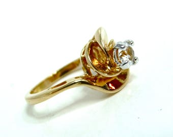 Vintage Ring 14K Gold filled CZ Cocktail Engagement Ring Two tone by PARK LANE Size 6