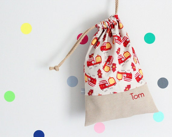 Customizable drawstring pouch - cuddly toy bag - kindergarden - red - firetrucks - fireman - rescue truck - school - slippers or toys bag