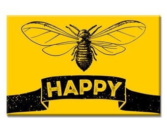 Bee Happy 2 x 3 inch Rectangle Refrigerator Fridge Magnet Bumble Honey Bee Be Happy Jewelry Gift
