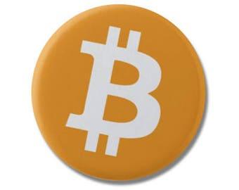 """Bitcoin Logo Button 1.25"""" or 2.25"""" Pinback Pin Button Badge, Crypto Button, BTC Button, Cryptocurrency Pin Gift"""