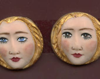 """Lot   of 2  Detailed   1 1/4 """" x 1  1/4 """"  Polymer Clay Art Nouveau   Faces ANFPR"""