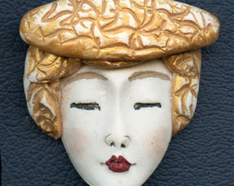 OOAK Polymer Clay One of a kind Detailed Asian  Face with Textured Hat ASG 8